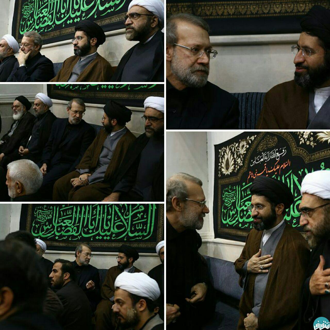 عکس/ خوش و بش مسعود خامنه ای و علی لاریجانی