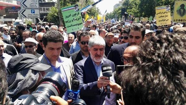 علی مطهری در راهپیمایی روز قدس
