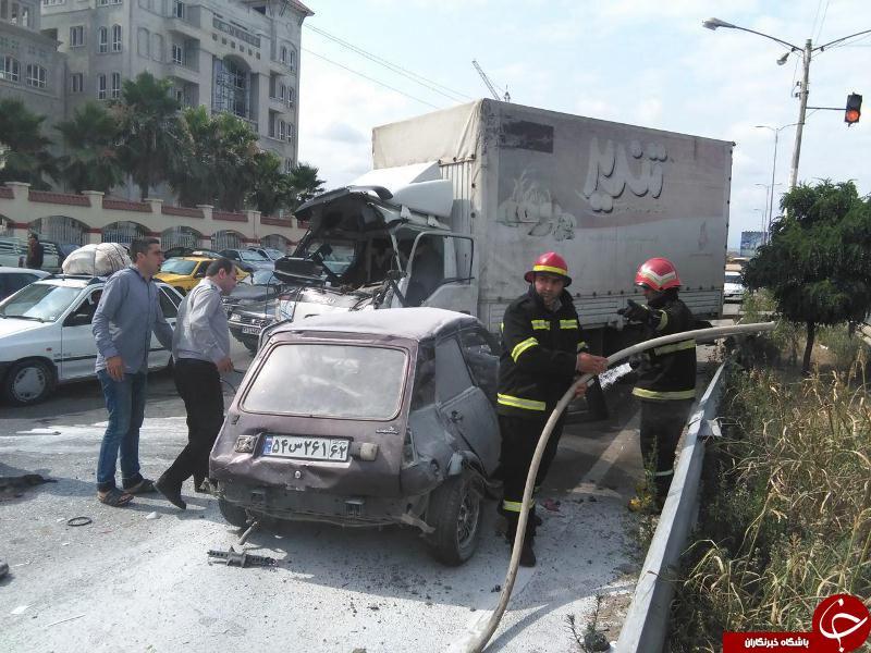 تصادف رنو و کامیونت ،آتش گرفتن رنو+ تصاویر