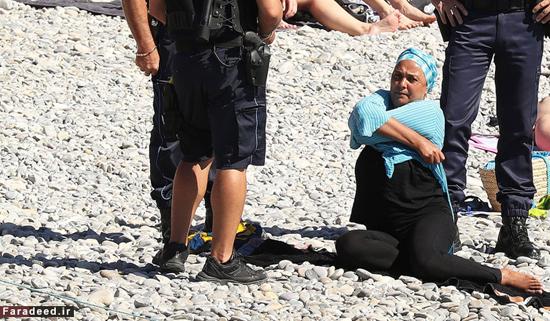 حرکت زننده پلیس با خانم محجبه در کنار دریا